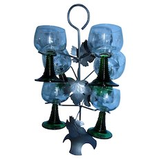 Gorgeous Set of 6 Grape Etched Wine Goblets with Green Stems on Very Attractive Original Leaf Stand.