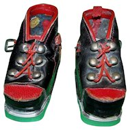 Very Rare Doll Red and Black Ski or Hiking Boots Made in Austria!