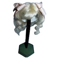 Stunning Wendy Feidt Signed Wavy Pale Antique Blonde Wig with Antique Pink Peach Hair Bows!