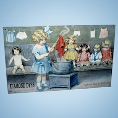 1994 Bessie Pease Gutmann A Busy Day in Dollville Diamond Dyes Metal Picture!