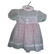 Gorgeous 1950's  Factory Pink Organdy Flocked & Dimity Dress for Toddler or Baby Doll MINT!
