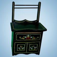 Vintage 1950's Pennsylvania Dutch Black Lacquered Washstand for Alexander-kins!