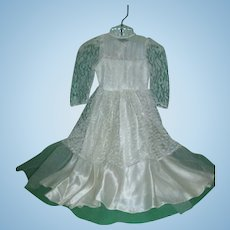 Vintage 1950's Factory Satin and Lace Bridal Gown for Large Fashion Doll!