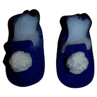 Vintage 1950's Madame Alexander Royal Blue Suede Slippers with White Pom Poms MINT and Unused!