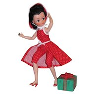 """Factory Red with White Polka Dot Capri Coolie Outfit and Heels for your Large 20"""" Dollikin!"""