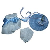 Vintage 1950s Vogue Ginny Tagged White Organdy and Blue Hat Outfit Pristine MINT!