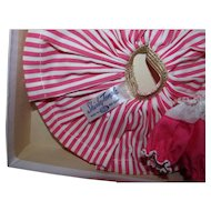 Rare 1950s Ideal Shirley Temple Tagged Deep Pink Stripe Playsuit Outfit Pristine Mint in Box!