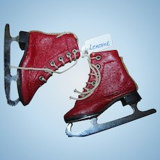RARE Rare Vintage Red Leather Doll Ice Skates Mint and Unused!