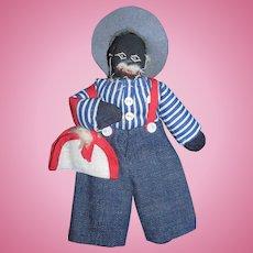Vintage Diminutive Black Cloth Doll All Original!