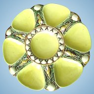 YELLOW!  Rarest of all Minton Majolica Antique Oyster Plates!