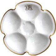 Antique Custom Monogrammed Oyster Plate by Haviland