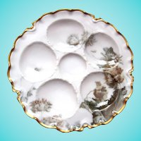 Rare Antique Haviland Oyster Plate ~ 'Feu de Four'