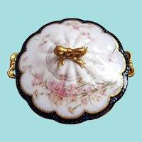 Antique Covered Bowl-Dish ~ Feu de Four ~ Haviland ~ Cobalt ~ RARE!