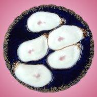 Elegant ~ Antique Haviland Oyster Plate ~ Cobalt!