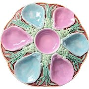 Antique Oyster Plate ~ Majolica ~ Joseph Holdcroft ~ Rare