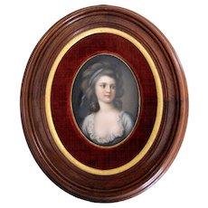 Antique Framed Portrait on Porcelain ~ Handpainted