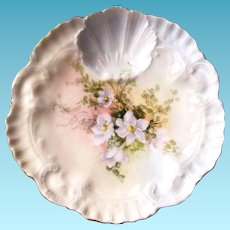 TWO Antique One Well Oyster Plates ~ Seafood!
