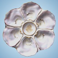 Antique Oyster Plate custom made with Family Monogram ~ 'Pearls'!