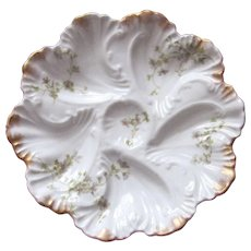 Antique Oyster Plate ~ Swirling Pattern