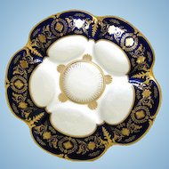 Marvelous ~ Cobalt 'n Gold Antique Oyster Plate