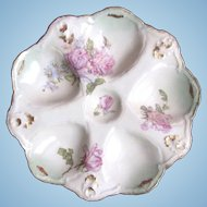 Antique Oyster Plate ~ Cabbage Roses! ~ Limoges