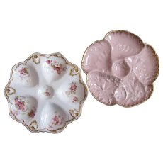 PAIR Antique Oyster Plates ~ ONE Money ~ Limoges