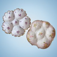PAIR Antique Oyster Plates ~ ONE Money ~ Limoges!