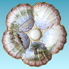 Antique Oyster Plate ~ Hand-painted ~ Ultra Charming!