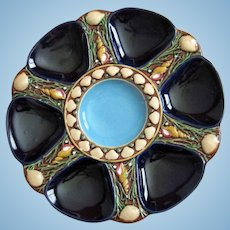 Exquisite Minton Antique Oyster Plate ~ Majolica ~ Cobalt