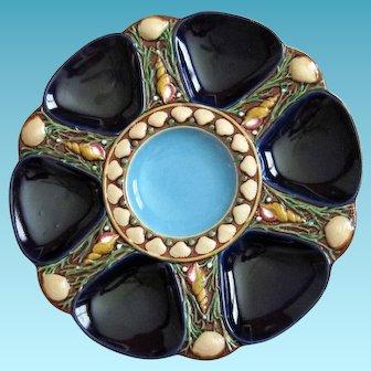 Exquisite Minton Antique Oyster Plate ~ Majolica ~ Cobalt
