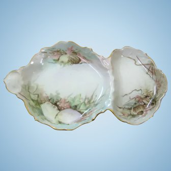 Antique Divided Seafood Dish ~ Sea Shell Ocean Motif
