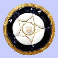 Antique Haviland Oyster Plate ~ Cobalt ~ Abram French Co ~ Boston MA
