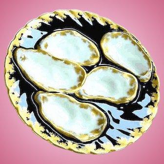 Antique Haviland Elaborate Oyster Plate ~ Cobalt & Gold