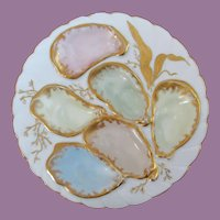 Antique Haviland French Hand Painted Oyster Plate ~ Artist Signed ~ Easter Colors!