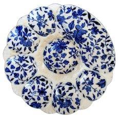 Antique Oyster Plate ~ Minton ~ Cobalt Flora