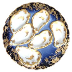 Antique Haviland Oyster Plate ~ Cobalt with Celestial Decor