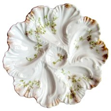 Antique Oyster Plate ~ Swirling Pattern  ~ Limoges