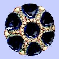 Ultra Rare Minton Mottled Cobalt Antique Oyster Plate