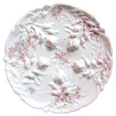 Antique Oyster Plate ~ Raised Seaweed!