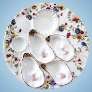 Rare Haviland Four Well Antique Oyster Plate *BOLD* Colors