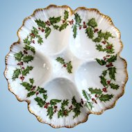 Christmas Holly & Berries Antique Oyster Plate