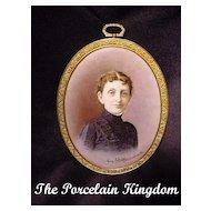 Antique Portrait Victorian Woman Porcelain Framed Miniature Portrait Artist Signed Franz Schier Munich 1891