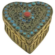 Chinese Heart Shaped Box with Stones