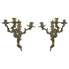 Victorian Pair Rococo Gilt Iron Three Arm Candelabra Sconces