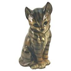 Vintage Tiger Cat with Bell  Porcelain Figure
