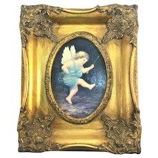 Victorian Cupid Cherub Gold Framed Oil on Board