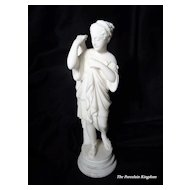 Mid Century carved alabaster Classical woman figurine