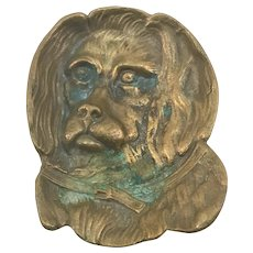 Antique Brass Dog Figural Card Tray