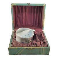 Antique German Porcelain Shaving Mug Original Presentation Box 1904