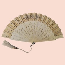 Celluloid and Paper Fan with Sequins